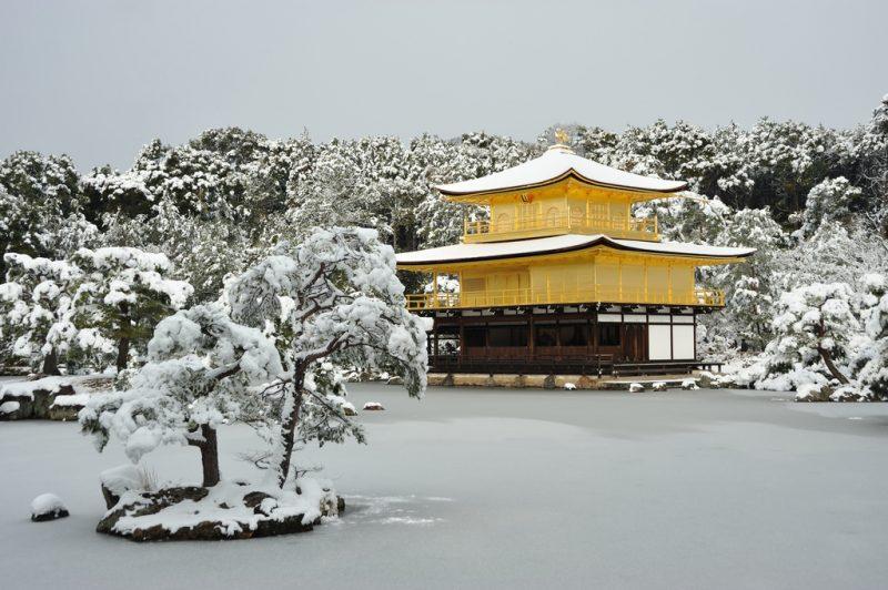 golden temple in snow
