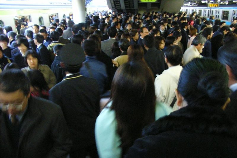 crowded train station