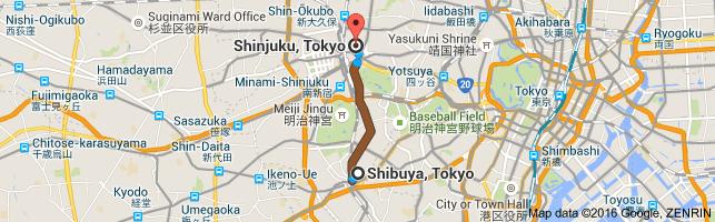 Go Shinjuku from Shibuya