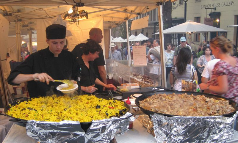 Disappointing paella and surprisingly good sweet pork stew over couscous at The Rocks night market