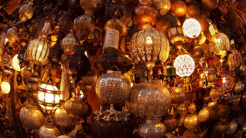 Traditional lamps are sold in the souks of Marrakech, in Morocco